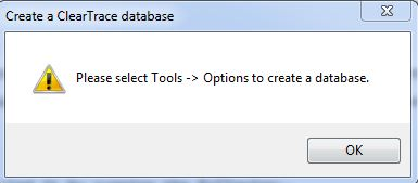 ClearTrace - Please choose database