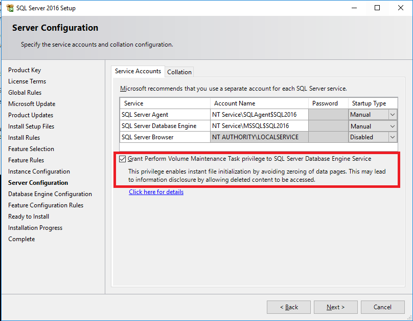 SQL2016 Perform Volume Maintenance