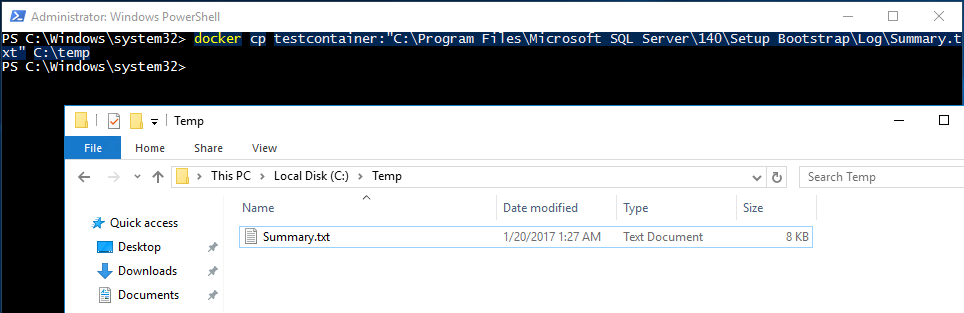 Copying files from/to a container - SQLServerCentral