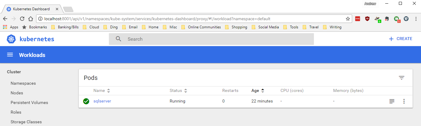 Exploring the Kubernetes dashboard in Azure Container