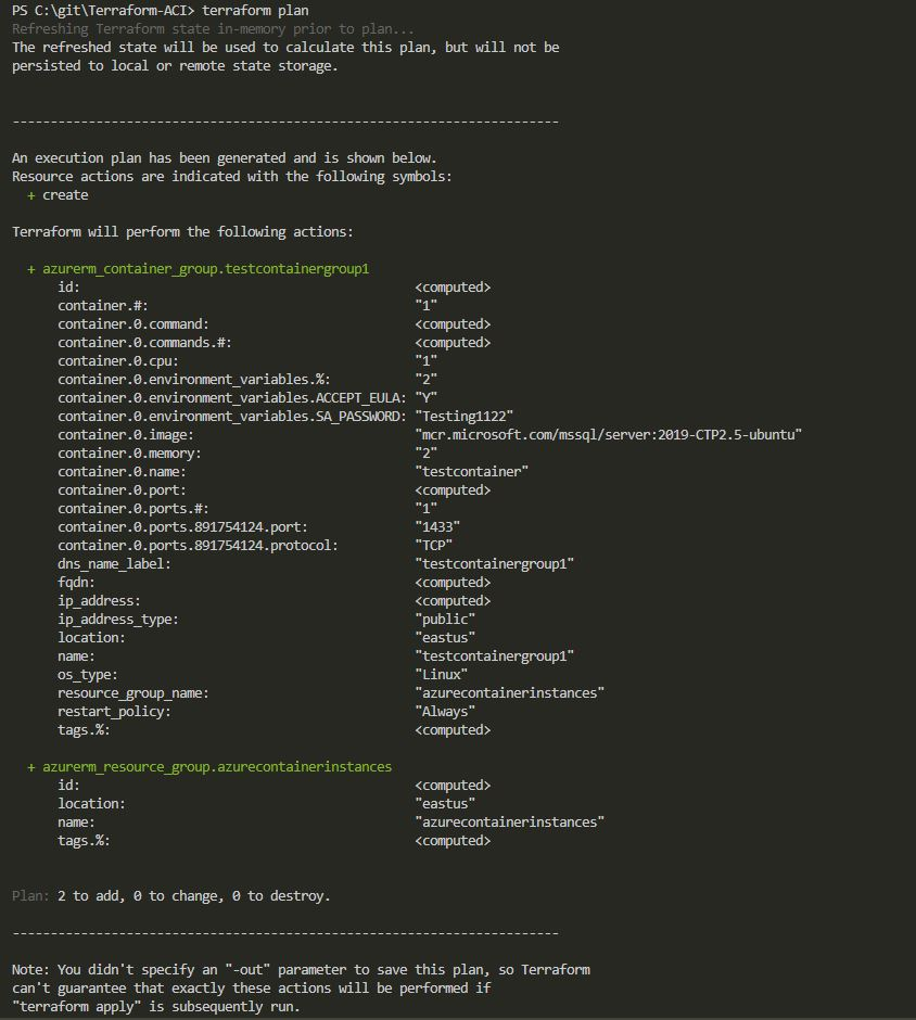 Deploying SQL Server to an Azure Container Instance using Terraform